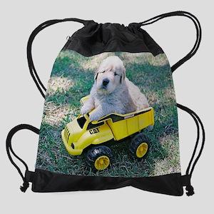 Puppy Riding Toy Truck Drawstring Bag