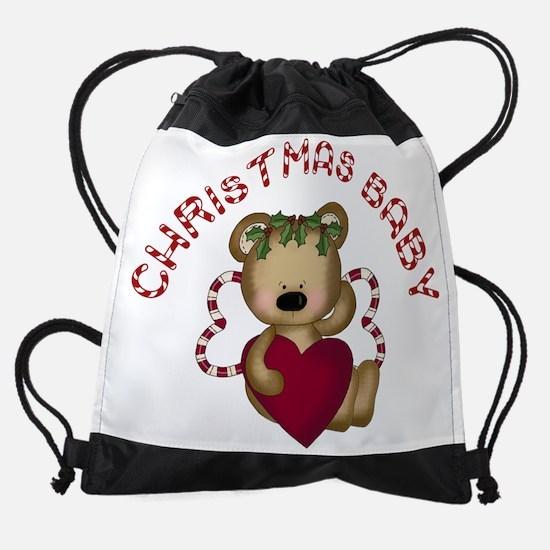 christmas baby w heart seslar.png Drawstring Bag