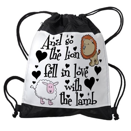 THE LION FELL IN LOVE WITH THE LAMB DRAWSTRING BAG