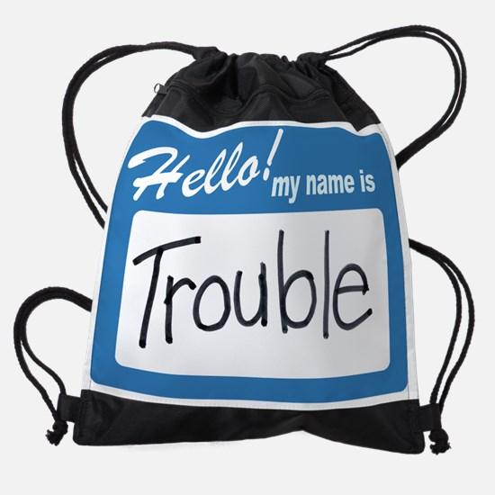 hello  trouble.png Drawstring Bag