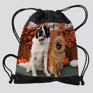 Mae_St_Bernard_Cinny_Chow-4 Drawstring Bag