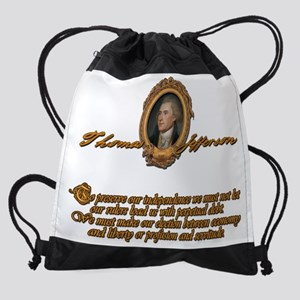 Thomas Jefferson Loaded with Debt.p Drawstring Bag