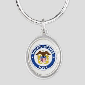 American Navy Symbol Silver Oval Necklace