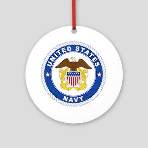 American Navy Symbol Round Ornament
