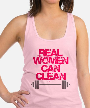 Real Women Can Clean (Pink) Racerback Tank Top