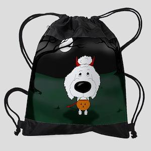WhtPoodleOct Drawstring Bag