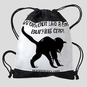 CAT CRAP - WHITE Drawstring Bag