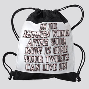 Tweets Can Live On sq2 light poster Drawstring Bag