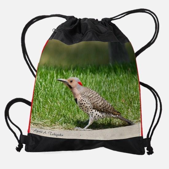 Day 6 Common Flicker Woodpecker 1 Drawstring Bag