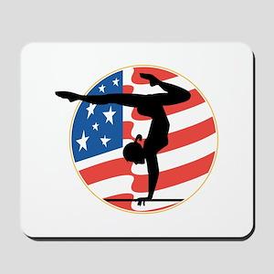 USA Stars and Stripes Gymnastics Design Mousepad