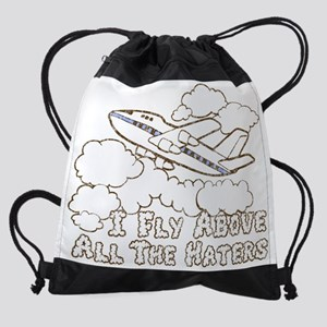 Fly Above Haters-BROWN WHITE DISTRE Drawstring Bag