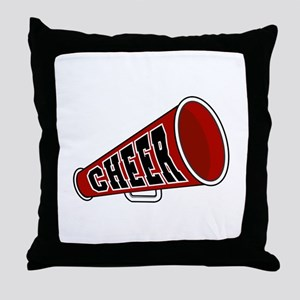Red Cheer Megaphone Throw Pillow