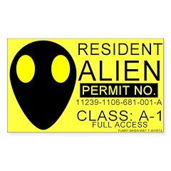 Resident Alien Rectangle Decal