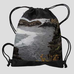 Seal Rock Coastal Scene Drawstring Bag