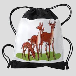 Little Deer Family Drawstring Bag
