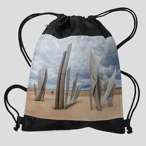 Omaha Beach Monument Drawstring Bag