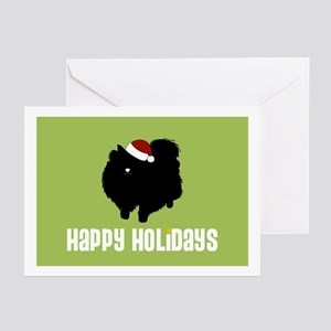 "Pomeranian ""Santa Hat"" Greeting Cards (Package of"