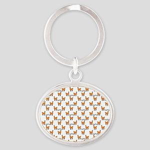Llama Mania Oval Keychain