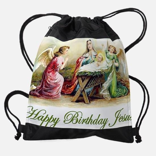 Happy Birthday Jesus Drawstring Bag