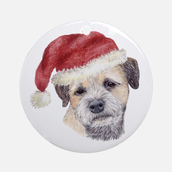 Christmas Border Terrier Ornament (Round)