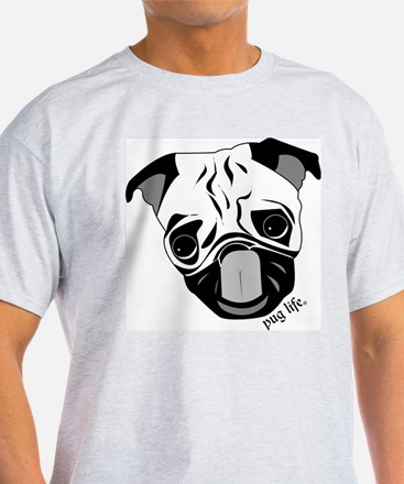 Pug Life Chewie Tongue Ash Grey T-Shirt