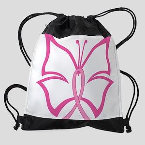 Pink Ribbon Butterfly Drawstring Bag