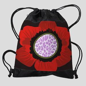 Red Flower Pink Leopard Print Drawstring Bag