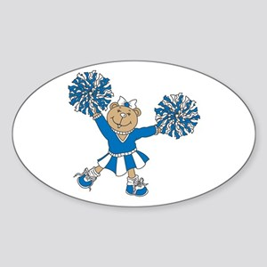 Blue & White Cheerleading Bear Oval Sticker