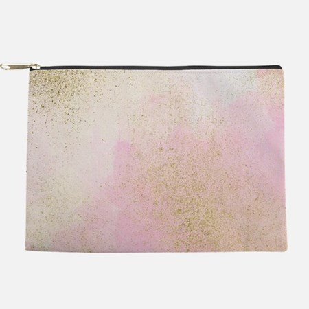 Pretty In Pink And Gold Delicate Abst Makeup Pouch