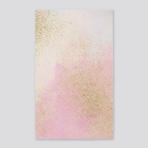 Pretty In Pink And Gold Delicate Abstract Area Rug