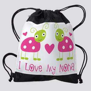love my nona pink ladybugs Drawstring Bag