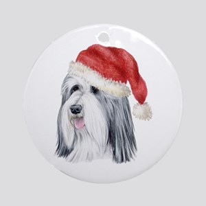 Christmas Bearded Collie Ornament (Round)