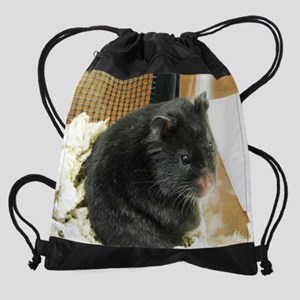 Black Hamster Drawstring Bag