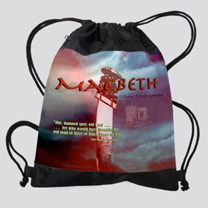 Macbeth text 11.5x9 quote Drawstring Bag