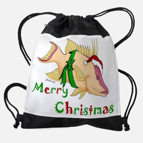 Holiday Hogfish Drawstring Bag