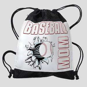 baseballmom001-dark Drawstring Bag