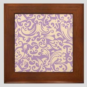 African Violet & Linen Swirls Framed Tile