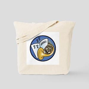 Tuba and Sheet Music Circle Design Tote Bag