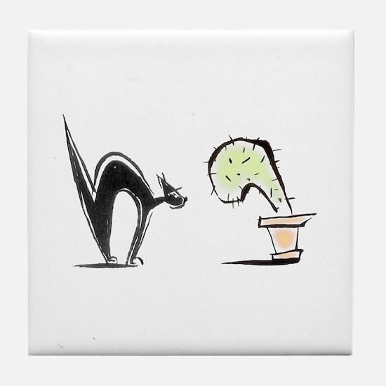 Tile Coaster Cat vs Cactus