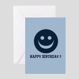 Happy Face Birthday Blue Greeting Card