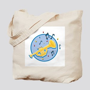 Trumpet and Music Notes Design Tote Bag