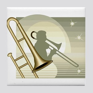 Trombone Player Design Tile Coaster