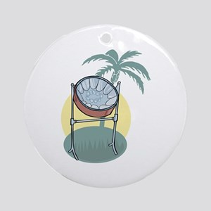 Steel Drum and Palm Tree Ornament (Round)