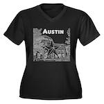 Austin Women's Plus Size V-Neck Dark T-Shirt