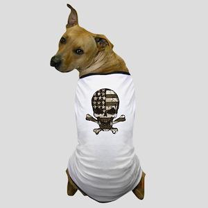 Flag-painted-Skull-Sepia Dog T-Shirt