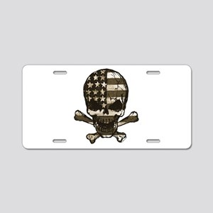 Flag-painted-Skull-Sepia Aluminum License Plate