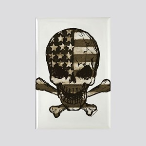 Flag-painted-Skull-Sepia Rectangle Magnet