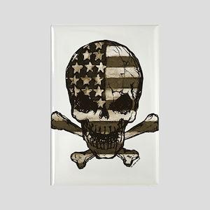 Flag-painted-Skull-Sepia Rectangle Magnet