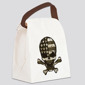 Flag-painted-Skull-Sepia Canvas Lunch Bag