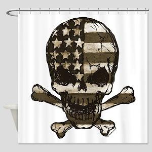 Flag-painted-Skull-Sepia Shower Curtain